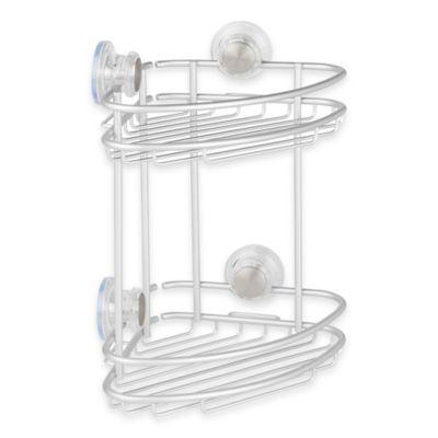 InterDesign® Metro Turn-N-Lock Suction 2-Tier Corner Basket in Silver