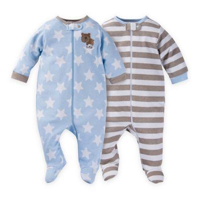 Gerber® Preemie 2-Pack Stars & Stripes Zip-Front Organic Cotton Footies in Blue