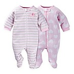 Gerber® Size 6M 2-Pack 2-Pack Elephant, Hearts & Stripe Zip-Front Organic Cotton Footies in Pink