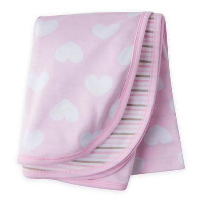 Gerber Organic Cotton Hearts & Stripe Receiving Blanket in Pink/Brown