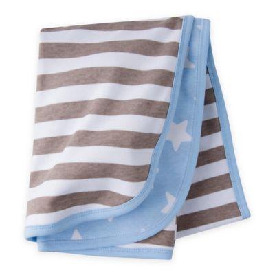 Gerber Organic Cotton Stars & Stripe Receiving Blanket in Blue/Brown