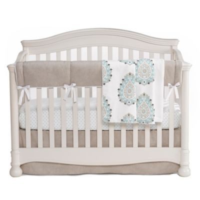 Liz and Roo Modern Damask 3-Piece Crib Bedding Set in Sand/Aqua