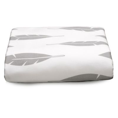Liz and Roo Feathers Crib Sheet in Grey