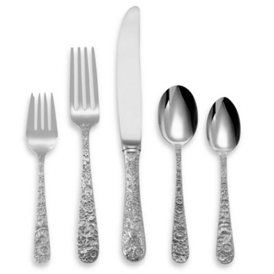 Repousse Sterling Silver 5-Piece Flatware Place Setting