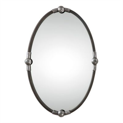 Uttermost Carrick Oval Wall Mirror in Black/Silver