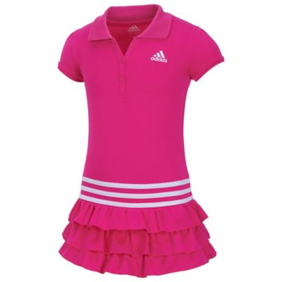 adidas® Size 9M Ruffle Polo Dress in Pink/White
