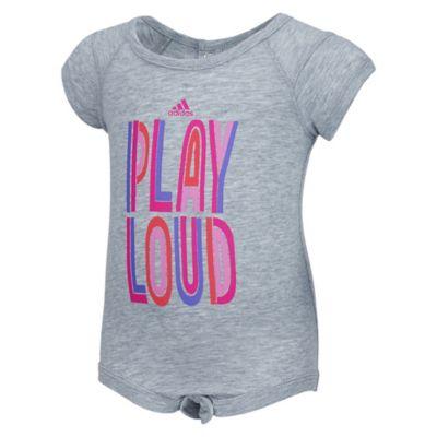 "Adidas® Size 12M ""Play Loud"" Short Sleeve Bodyshirt in Grey"
