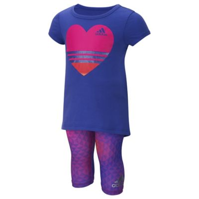 adidas® Size 3M 2-Piece Heart T-Shirt and Printed Capri Set in Purple