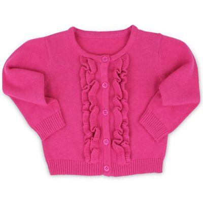 RuffleButts® Size 6-12 Ruffled Cardigan in Candy Pink