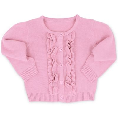RuffleButts® Size 3-6M Ruffled Cardigan in Pink