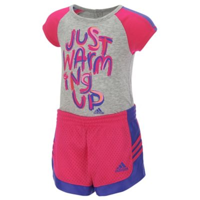 "Adidas® Size 9M 2-Piece ""Just Warming Up"" Bodyshirt and Short Set in Pink/Grey"
