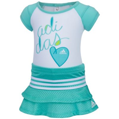 "Adidas® Size 2T 2-Piece ""Adidas"" Heart T-Shirt and Skort Set in Aqua"