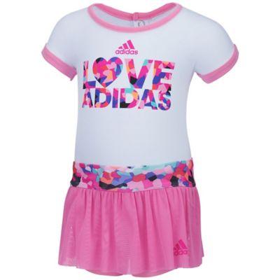 """Adidas® Size 12M 2-Piece """"Love Adidas"""" Bodyshirt and Skort Set in Pink"""