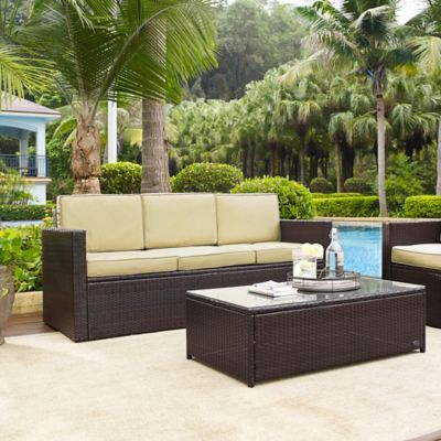 Crosley Palm Harbor Outdoor Wicker Sofa in Brown