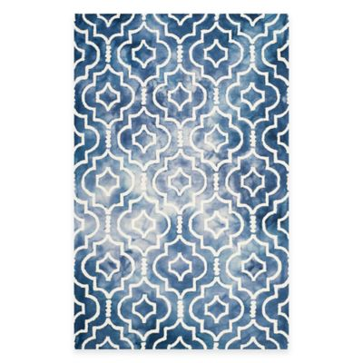 Safavieh Dip Dye Moroccan Trellis 7-Foot Round Area Rug in Blue/Ivory