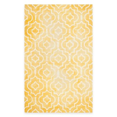 Safavieh Dip Dye Moroccan Trellis 6-Foot x 9-Foot Area Rug in Gold/Ivory