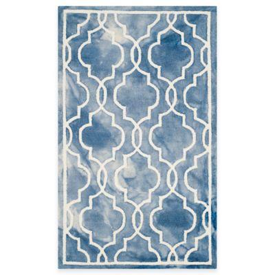 Safavieh Dip Dye Link Trellis 2-Foot x 3-Foot Accent Rug in Blue/Ivory