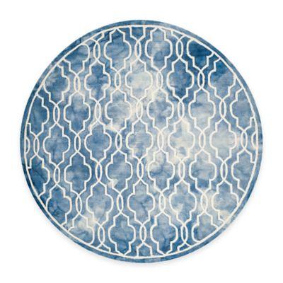 Safavieh Dip Dye Link Trellis 7-Foot Round Area Rug in Blue/Ivory
