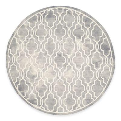Safavieh Dip Dye Link Trellis 7-Foot Round Area Rug in Grey/Ivory