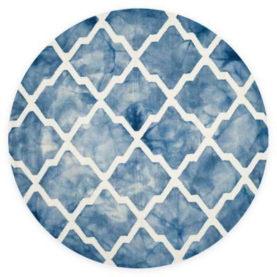 Safavieh Dip Dye Diamonds 7-Foot Round Area Rug in Blue/Ivory