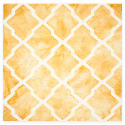 Safavieh Dip Dye Diamonds 7-Foot Square Area Rug in Gold/Ivory
