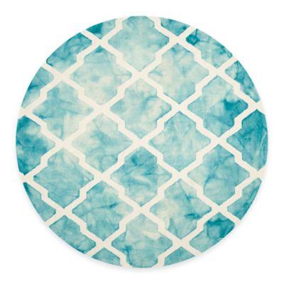 Safavieh Dip Dye Diamonds 7-Foot Round Area Rug in Turquoise/Ivory