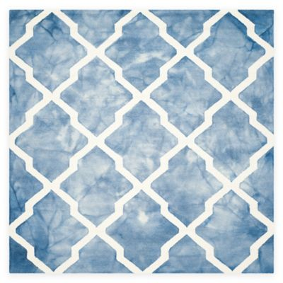 Safavieh Dip Dye Diamonds 7-Foot Square Area Rug in Blue/Ivory