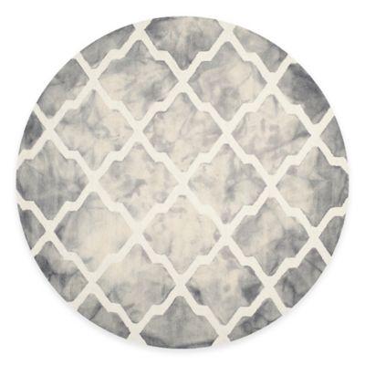 Safavieh Dip Dye Diamonds 7-Foot Round Area Rug in Grey/Ivory