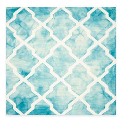 Safavieh Dip Dye Diamonds 7-Foot Square Area Rug in Turquoise/Ivory