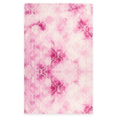 Safavieh Dip Dye Trellis 5-Foot x 8-Foot Area Rug in Rose/Ivory