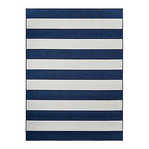 miami stripe indoor outdoor area rug in navy white bed bath beyond. Black Bedroom Furniture Sets. Home Design Ideas