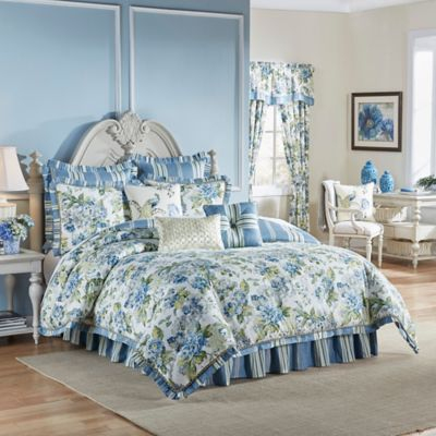 Waverly® Floral Engagement Reversible Queen Comforter Set in Porcelain