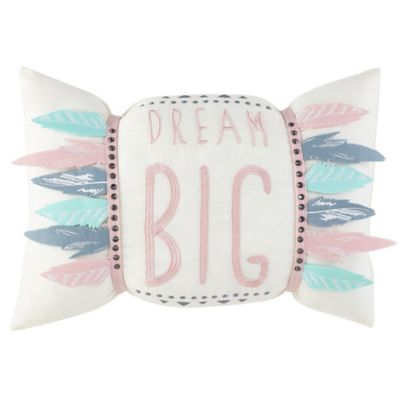 "Frank and Lulu Dream Catcher Interactive ""Dream Big"" Oblong Throw Pillow"