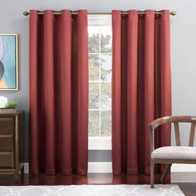 Tribeca 63-Inch Grommet Top Lined Window Curtain Panel in Brick