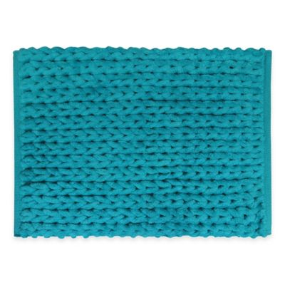 Park B. Smith Chenille Knit 17-Inch x 24-Inch Bath Rug in Turquoise