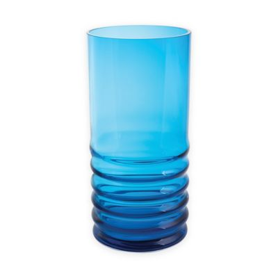 Dartington Crystal Wibble Large Hurricane Lamp with Candle in Turquoise