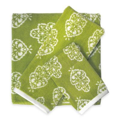 Bardwil Linens Dena Bali Bath Towel in Green/White