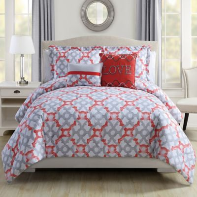Love 4-Piece Twin Comforter Set in Coral/Grey
