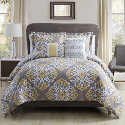 Snooze 4-Piece Twin Comforter Set in Grey/Yellow