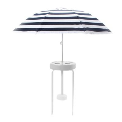 Pool Buoy 5-Foot Floating Umbrella and Buoy in Navy/White