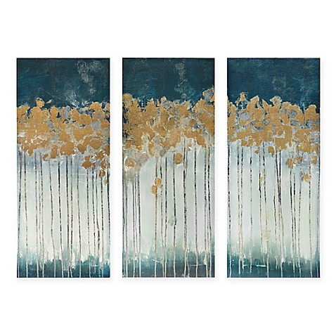 Madison park midnight forest 3 piece canvas wall art bed for Wall artwork paintings