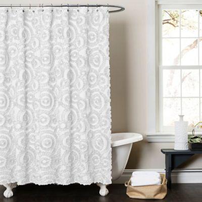 Lush Décor Keila 54-Inch x 78-Inch Shower Curtain in White