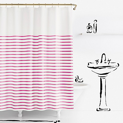 Kate spade new york harbour stripe shower curtain bed for Bed bath and beyond kate spade