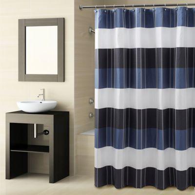 Navy Blue Striped Shower Curtain