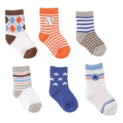 BabyVision® Luvable Friends® Size 0-6M 6-Pack Computer Cushion Socks in Blue