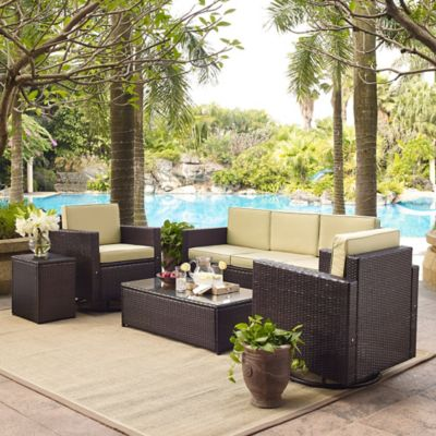 Crosley Palm Harbor 5-Piece Outdoor Wicker Seating Set in Brown
