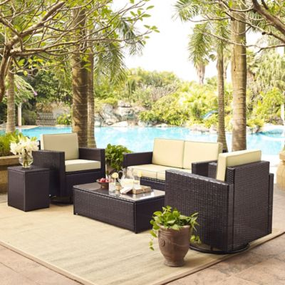 Crosley Palm Harbor 5-Piece Outdoor Wicker Conversation Set in Brown