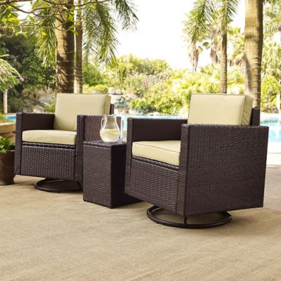 Crosley Palm Harbor 3-Piece Outdoor Wicker Conversation Set