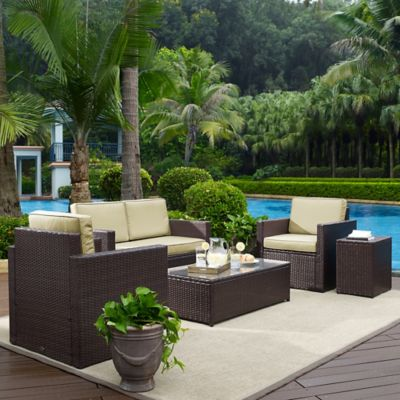 Crosley Palm Harbor 5-Piece Outdoor Wicker Entertainment Set in Brown