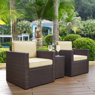 Crosley Palm Harbor 3-Piece Outdoor Wicker Seating Set in Brown